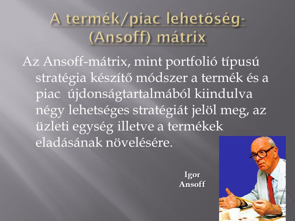 Az Ansoff-mátrix, mint portfolió típusú stratégia készítő módszer a termék és a piac újdonságtartalmából kiindulva négy lehetséges stratégiát jelöl me