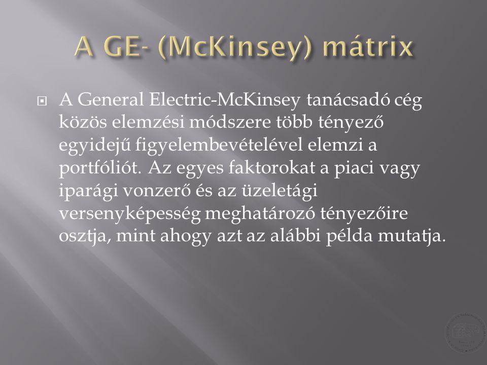  A General Electric-McKinsey tanácsadó cég közös elemzési módszere több tényező egyidejű figyelembevételével elemzi a portfóliót. Az egyes faktorokat