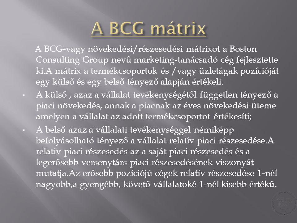 A BCG-vagy növekedési/részesedési mátrixot a Boston Consulting Group nevű marketing-tanácsadó cég fejlesztette ki.A mátrix a termékcsoportok és /vagy