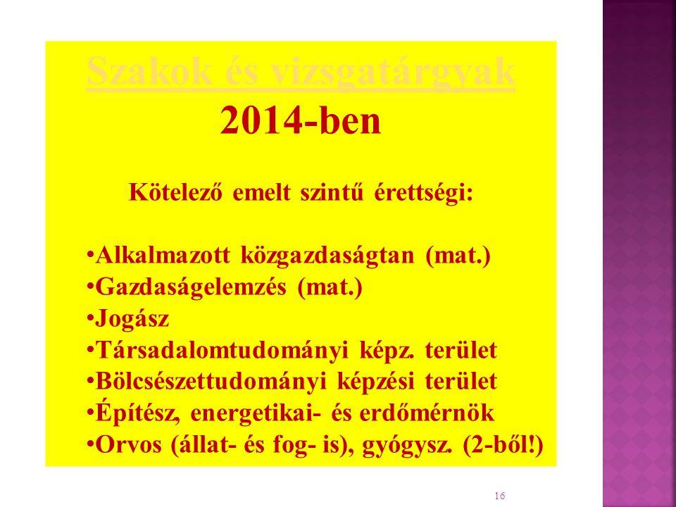16 Szakok és vizsgatárgyak 2014-ben Kötelező emelt szintű érettségi: Alkalmazott közgazdaságtan (mat.) Gazdaságelemzés (mat.) Jogász Társadalomtudomán