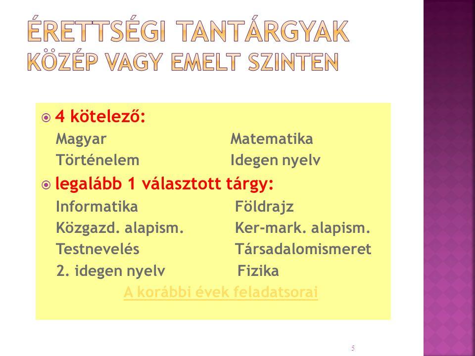  4 kötelező: Magyar Matematika TörténelemIdegen nyelv  legalább 1 választott tárgy: Informatika Földrajz Közgazd. alapism. Ker-mark. alapism. Testne