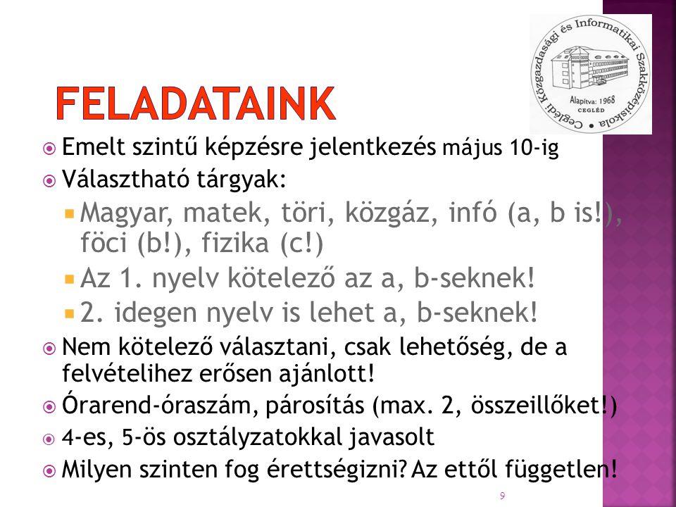 9  Emelt szintű képzésre jelentkezés május 10-ig  Választható tárgyak:  Magyar, matek, töri, közgáz, infó (a, b is!), föci (b!), fizika (c!)  Az 1.