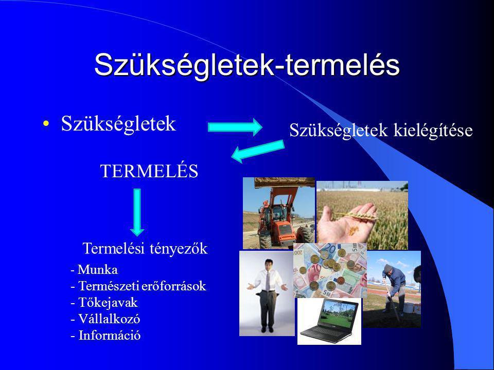 Szükségletek-termelés Szükségletek Szükségletek kielégítése TERMELÉS Termelési tényezők - Munka - Természeti erőforrások - Tőkejavak - Vállalkozó - Információ