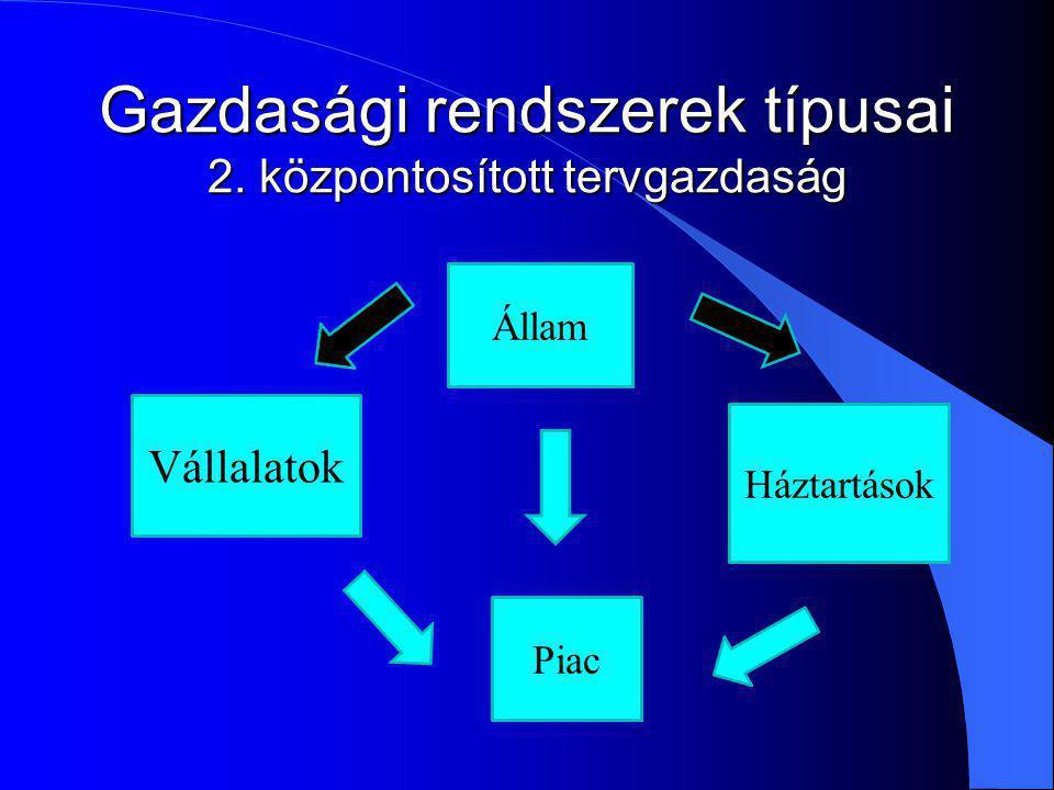 Gazdasági rendszerek típusai 2. központosított tervgazdaság Vállalatok Állam Háztartások Piac
