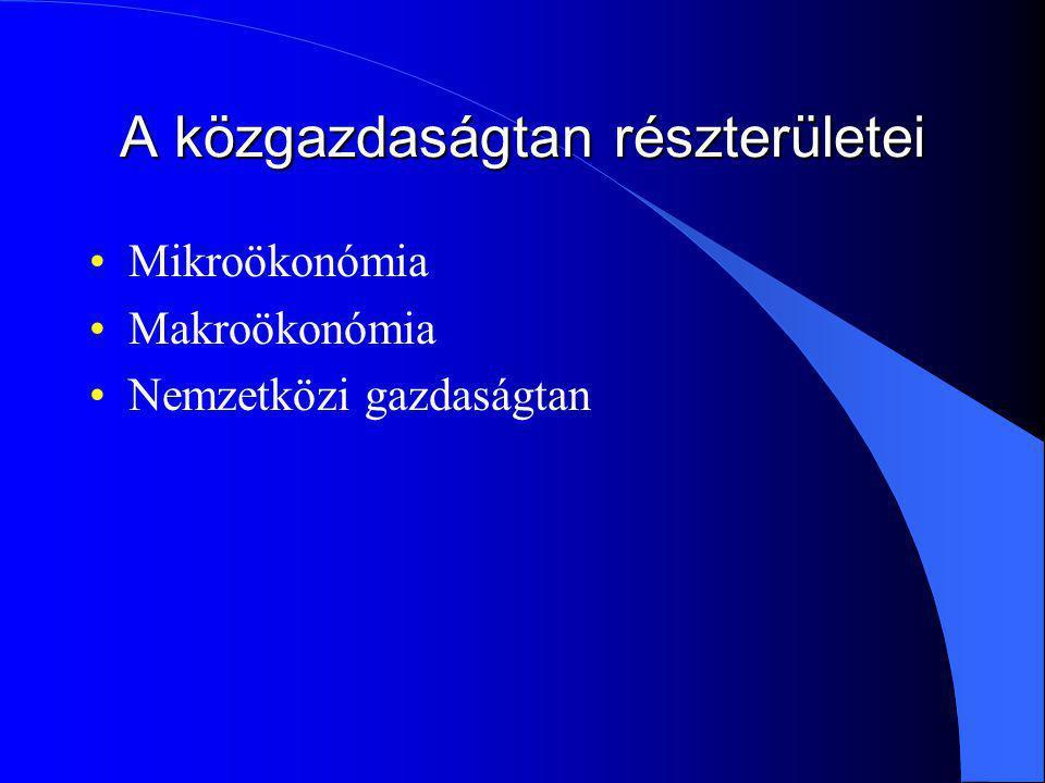 A közgazdaságtan részterületei Mikroökonómia Makroökonómia Nemzetközi gazdaságtan
