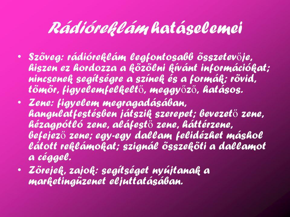 Rádióreklám hatáselemei Szöveg: rádióreklám legfontosabb összetev ő je, hiszen ez hordozza a közölni kívánt információkat; nincsenek segítségre a szín