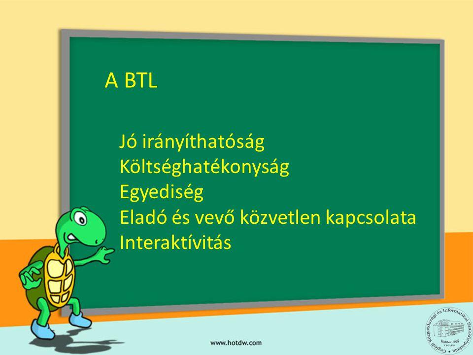 A BTL Jó irányíthatóság Költséghatékonyság Egyediség Eladó és vevő közvetlen kapcsolata Interaktívitás