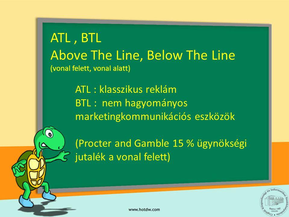 ATL : klasszikus reklám BTL : nem hagyományos marketingkommunikációs eszközök (Procter and Gamble 15 % ügynökségi jutalék a vonal felett) ATL, BTL Abo