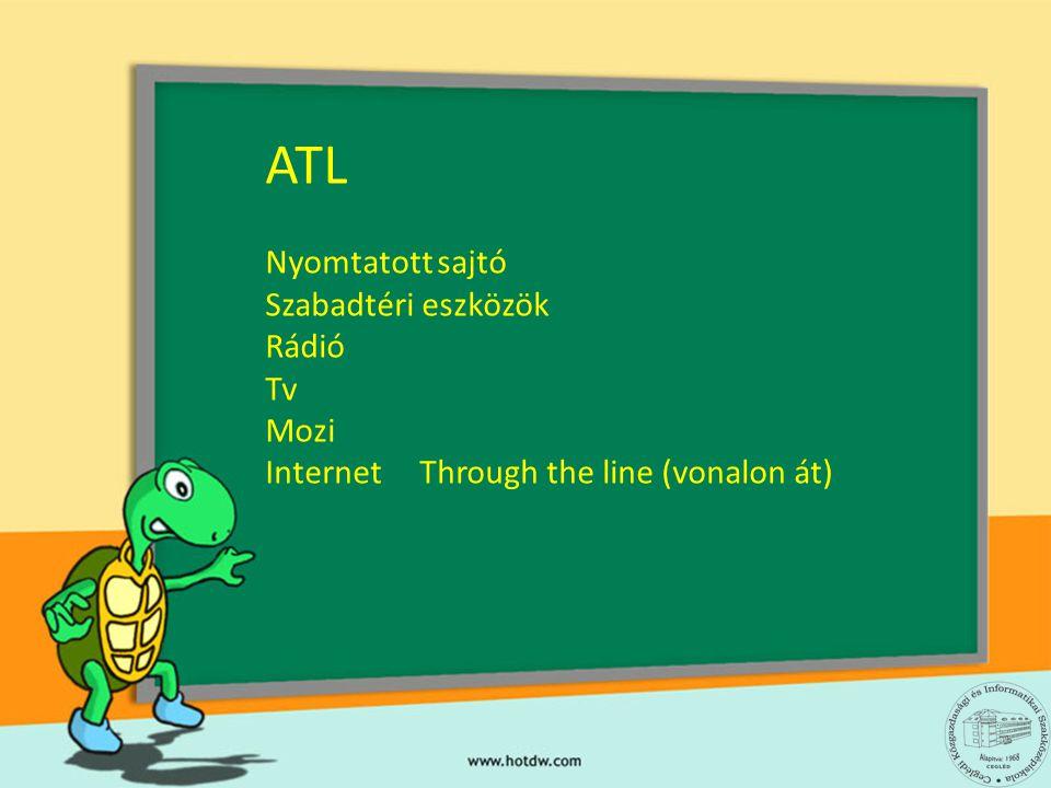 ATL Nyomtatott sajtó Szabadtéri eszközök Rádió Tv Mozi Internet Through the line (vonalon át)