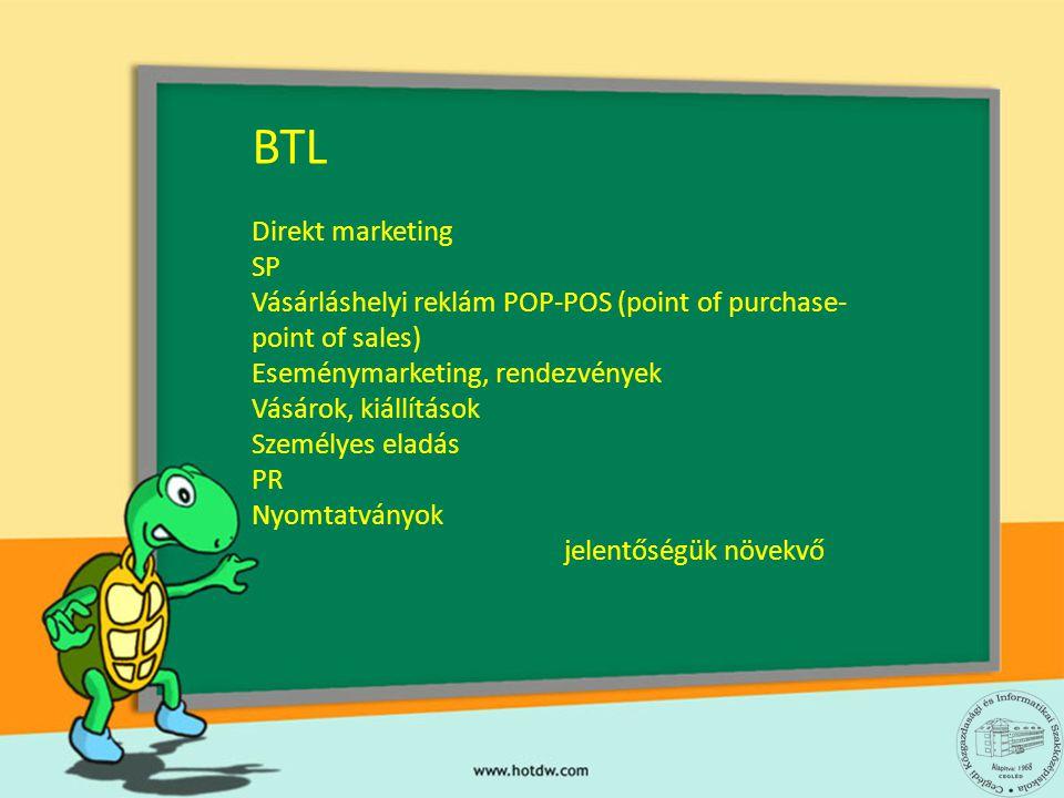 BTL Direkt marketing SP Vásárláshelyi reklám POP-POS (point of purchase- point of sales) Eseménymarketing, rendezvények Vásárok, kiállítások Személyes