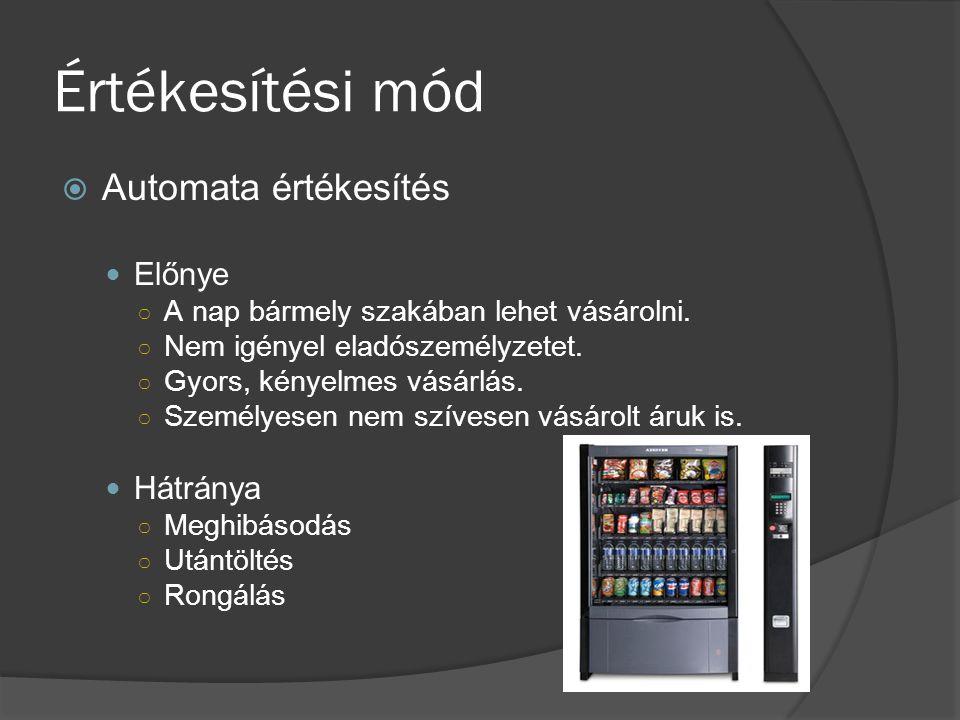 Értékesítési mód  Automata értékesítés Előnye ○ A nap bármely szakában lehet vásárolni. ○ Nem igényel eladószemélyzetet. ○ Gyors, kényelmes vásárlás.