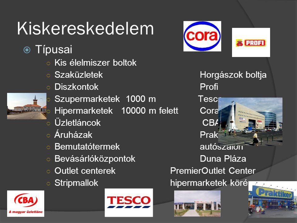 Kiskereskedelem  Típusai ○ Kis élelmiszer boltok ○ SzaküzletekHorgászok boltja ○ DiszkontokProfi ○ Szupermarketek 1000 m Tesco ○ Hipermarketek 10000