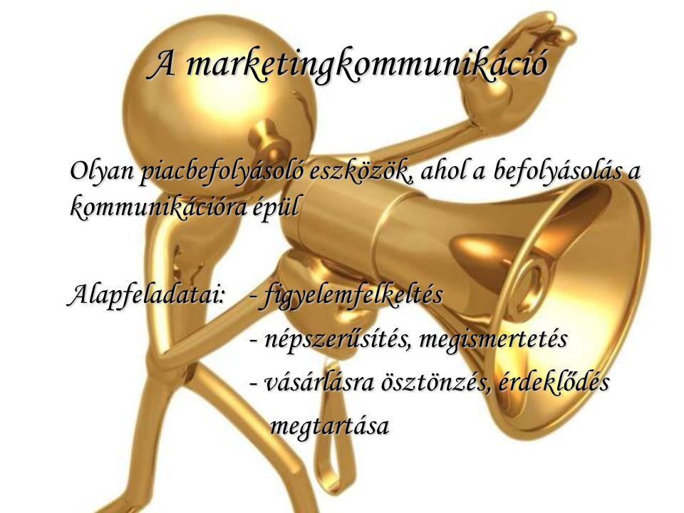 A marketingkommunikáció A marketingkommunikáció Olyan piacbefolyásoló eszközök, ahol a befolyásolás a kommunikációra épül Alapfeladatai:- figyelemfelk