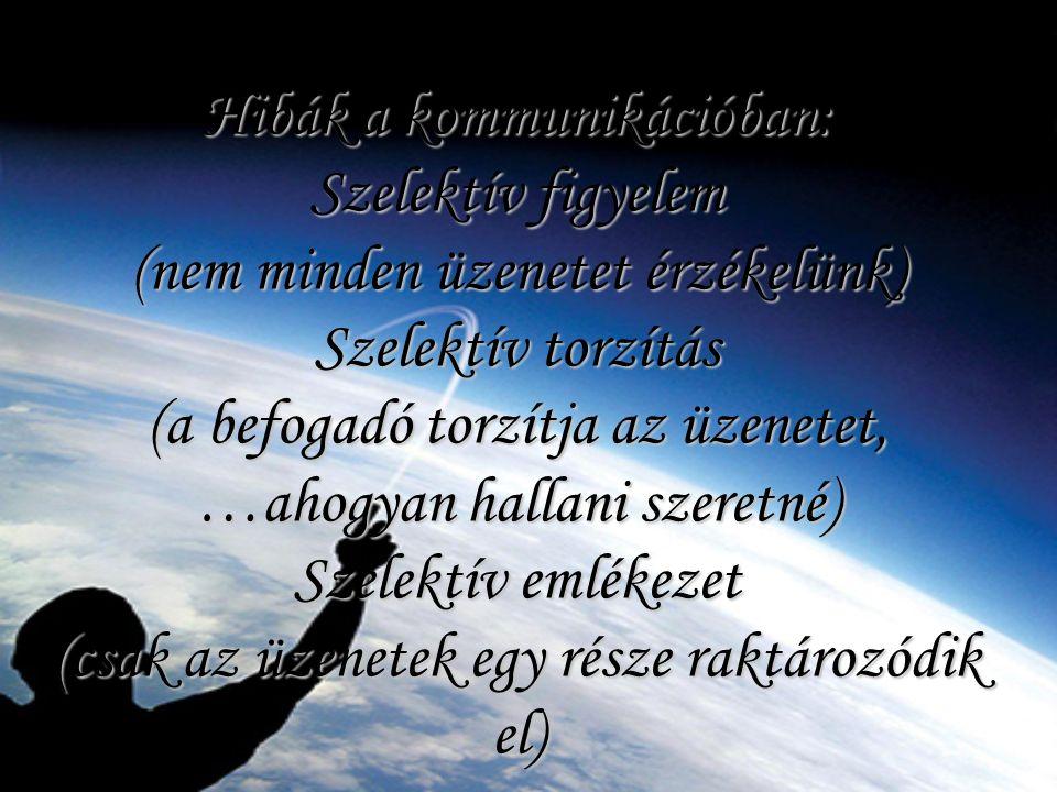 Hibák a kommunikációban: Szelektív figyelem (nem minden üzenetet érzékelünk) Szelektív torzítás (a befogadó torzítja az üzenetet, …ahogyan hallani sze