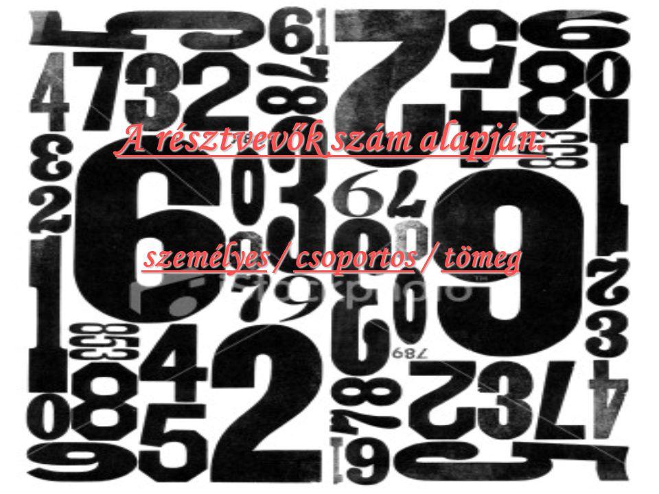 A résztvevők szám alapján: személyes / csoportos / tömeg