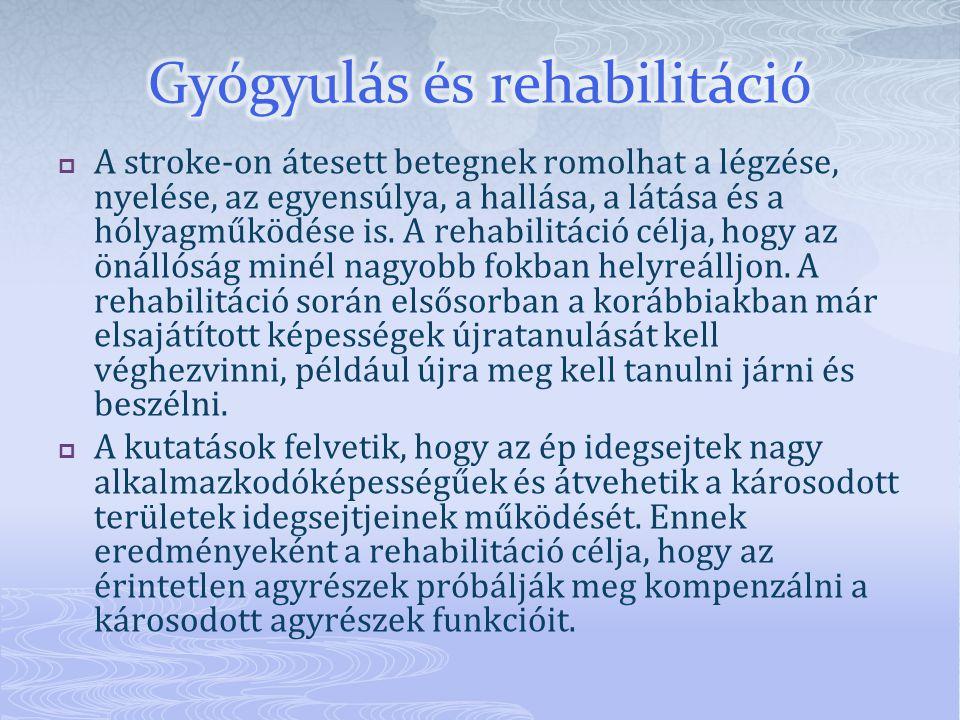  A stroke-on átesett betegnek romolhat a légzése, nyelése, az egyensúlya, a hallása, a látása és a hólyagműködése is.