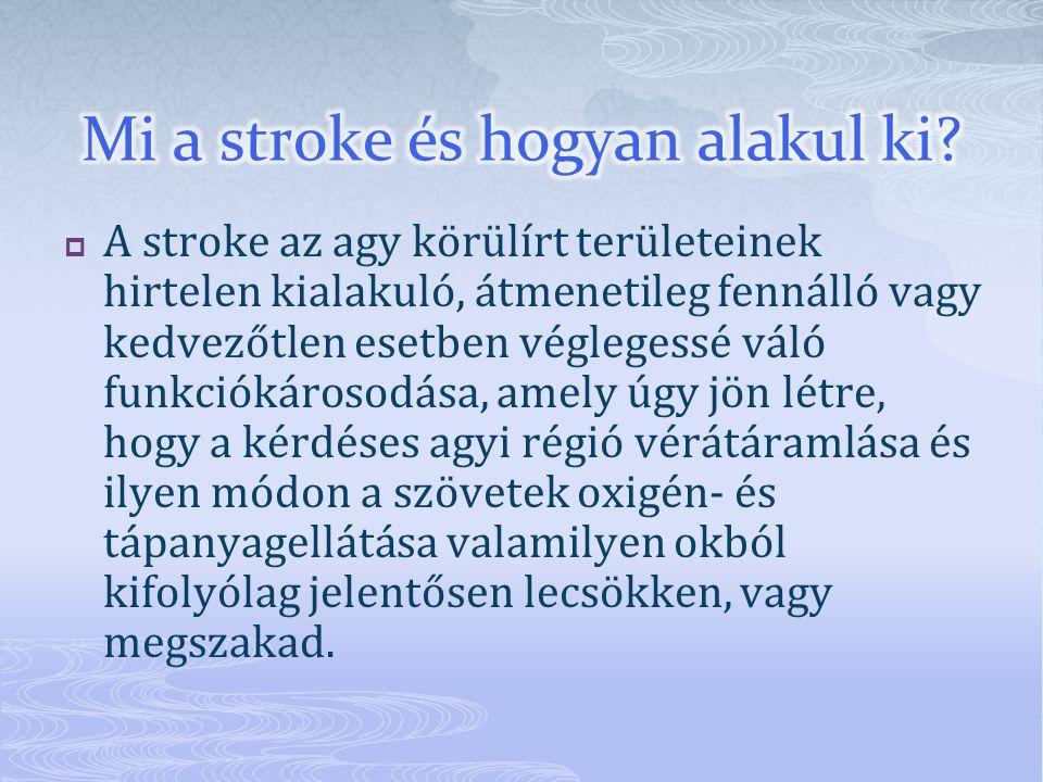  A stroke az agy körülírt területeinek hirtelen kialakuló, átmenetileg fennálló vagy kedvezőtlen esetben véglegessé váló funkciókárosodása, amely úgy jön létre, hogy a kérdéses agyi régió vérátáramlása és ilyen módon a szövetek oxigén- és tápanyagellátása valamilyen okból kifolyólag jelentősen lecsökken, vagy megszakad.
