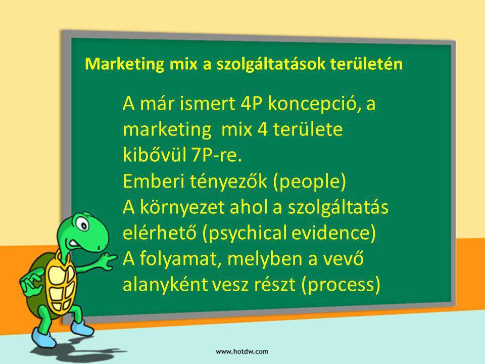 Marketing mix a szolgáltatások területén A már ismert 4P koncepció, a marketing mix 4 területe kibővül 7P-re. Emberi tényezők (people) A környezet aho