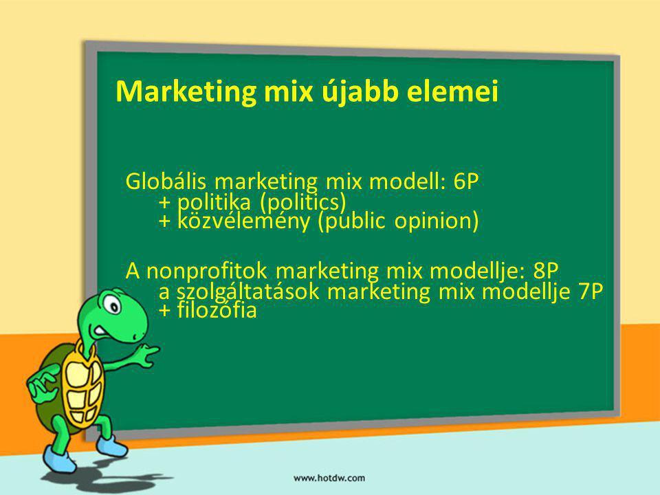 Marketing mix újabb elemei Globális marketing mix modell: 6P + politika (politics) + közvélemény (public opinion) A nonprofitok marketing mix modellje: 8P a szolgáltatások marketing mix modellje 7P + filozófia