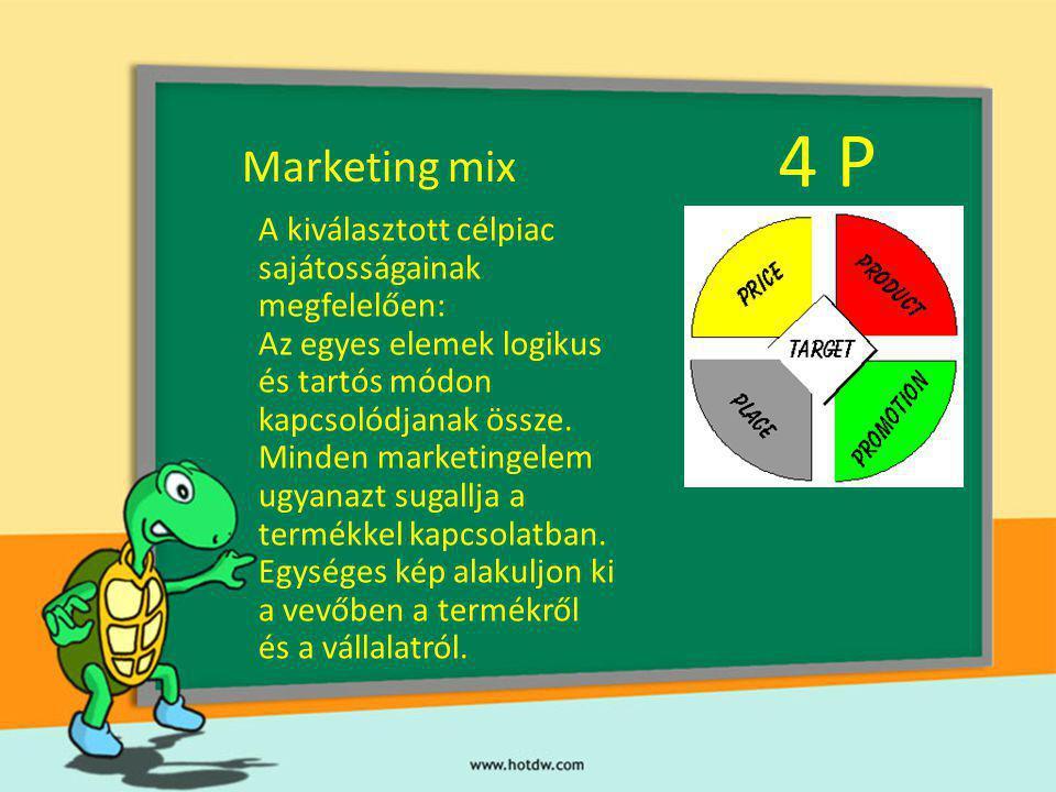 Marketing mix PL - Napi cikk - alacsony áron - sok üzletben kciók, kedvezmények, nyeremények - Luxus termék - magas áron - néhány üzletben - a célpiacnak megfelelő promóciós eszközök