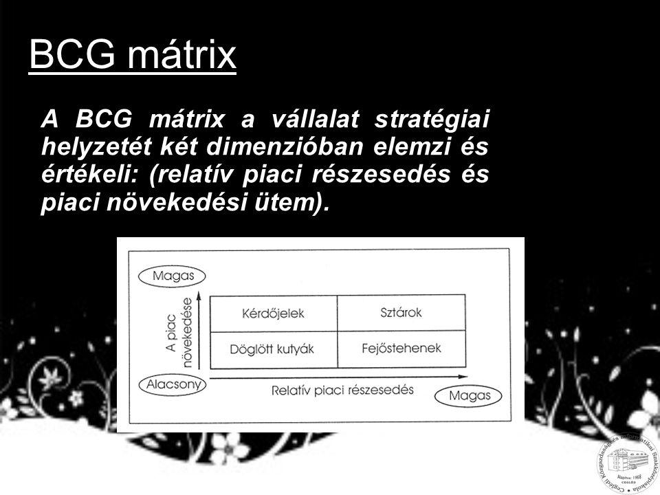 BCG mátrix A BCG mátrix a vállalat stratégiai helyzetét két dimenzióban elemzi és értékeli: (relatív piaci részesedés és piaci növekedési ütem).