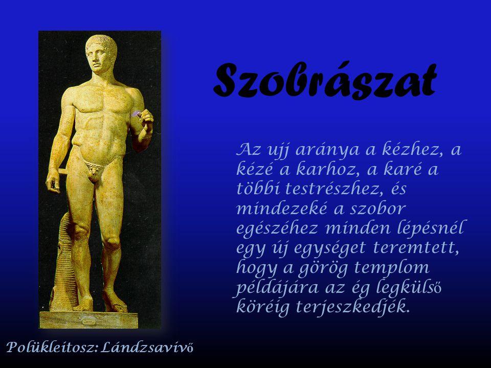 Szobrászat Az ujj aránya a kézhez, a kézé a karhoz, a karé a többi testrészhez, és mindezeké a szobor egészéhez minden lépésnél egy új egységet teremt