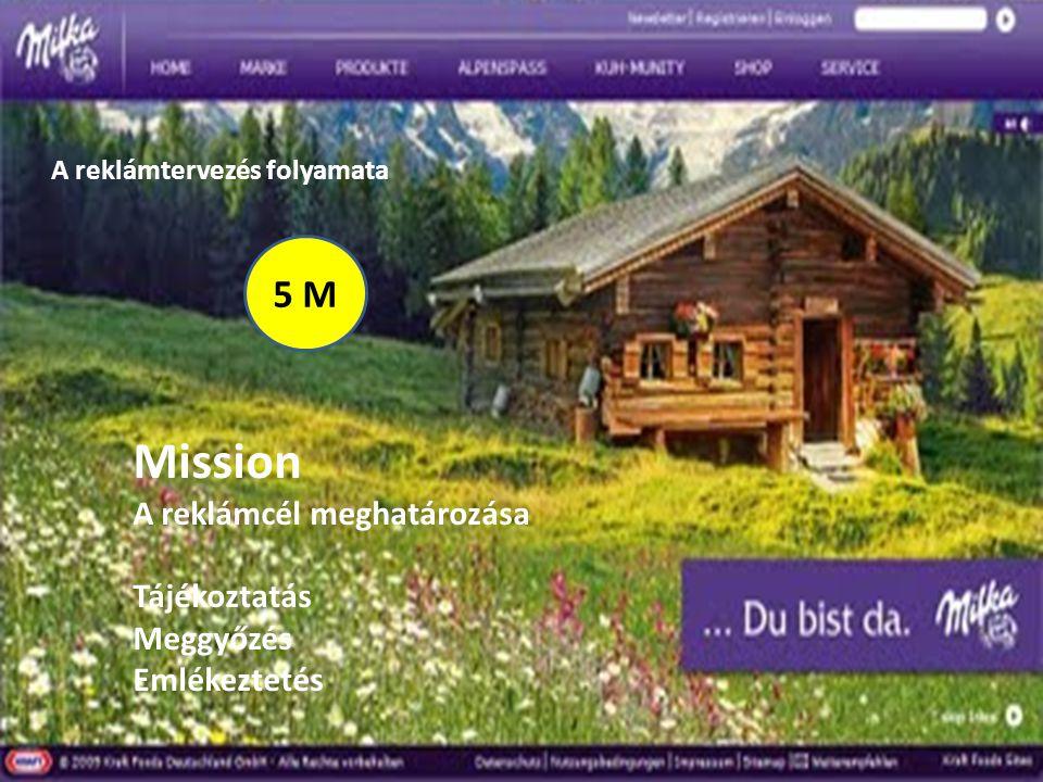 A reklámtervezés folyamata 5 M Mission A reklámcél meghatározása Tájékoztatás Meggyőzés Emlékeztetés