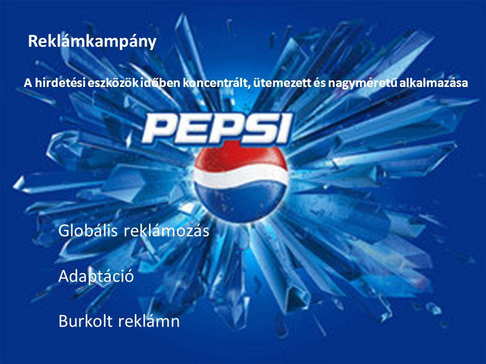Reklámkampány A hirdetési eszközök időben koncentrált, ütemezett és nagyméretű alkalmazása Globális reklámozás Adaptáció Burkolt reklámn
