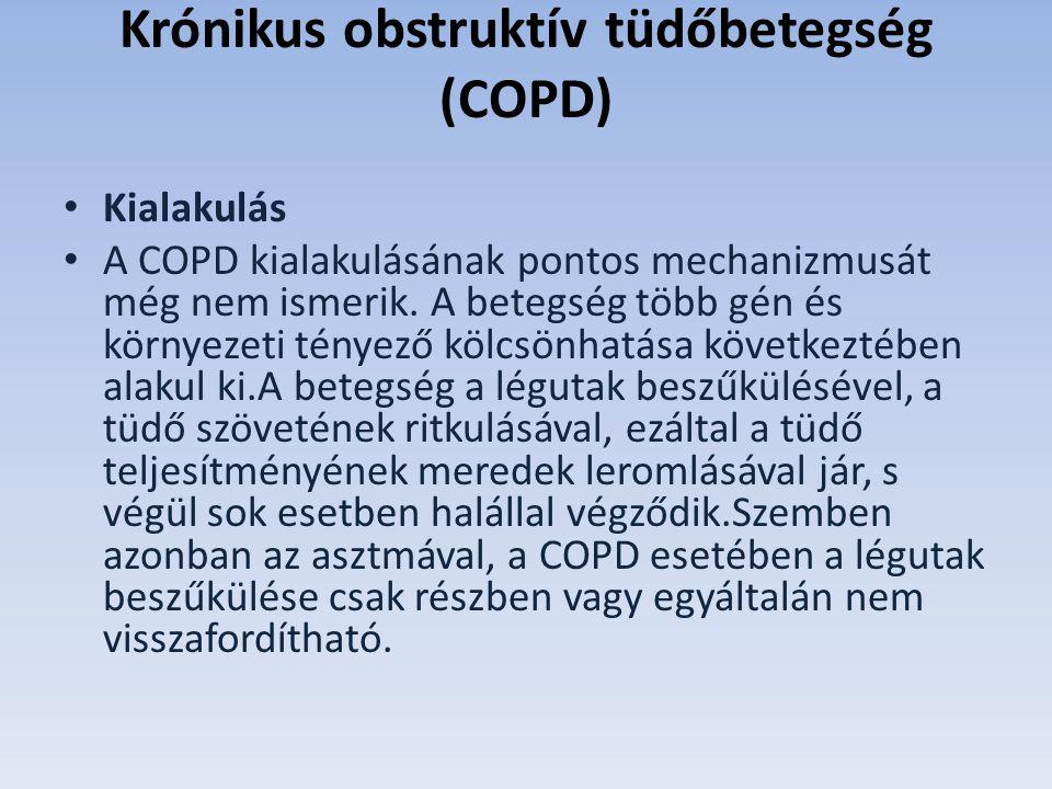 Krónikus obstruktív tüdőbetegség (COPD) Kialakulás A COPD kialakulásának pontos mechanizmusát még nem ismerik.