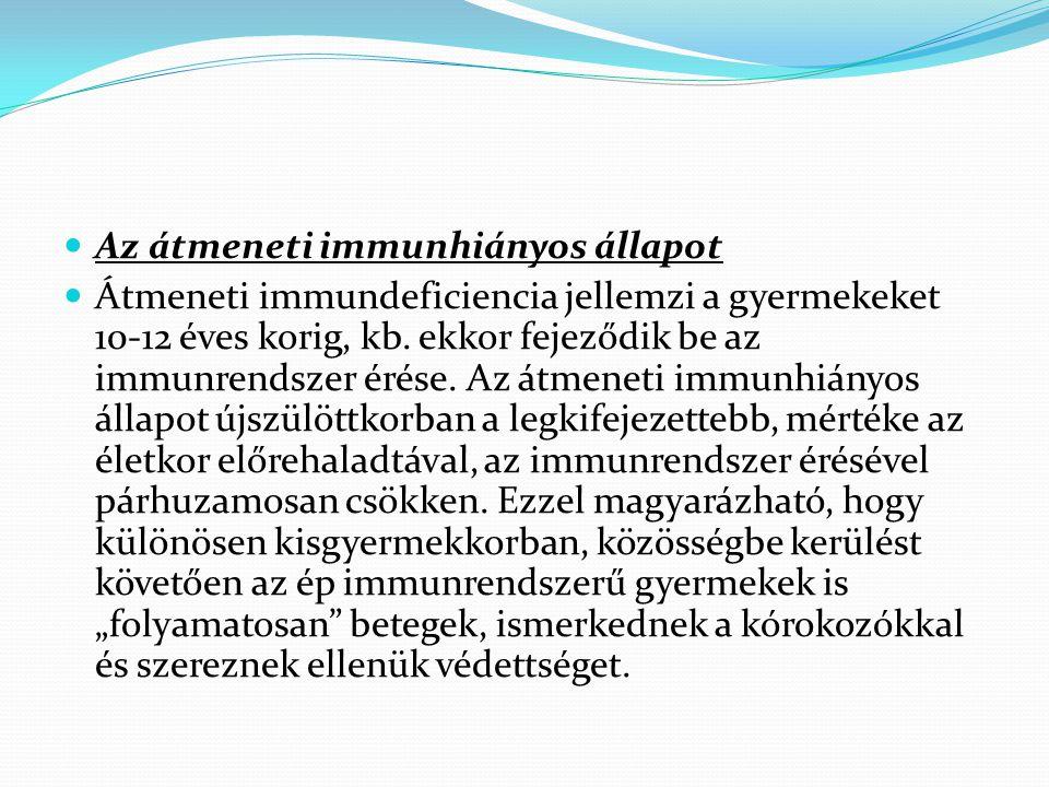 Az átmeneti immunhiányos állapot Átmeneti immundeficiencia jellemzi a gyermekeket 10-12 éves korig, kb. ekkor fejeződik be az immunrendszer érése. Az