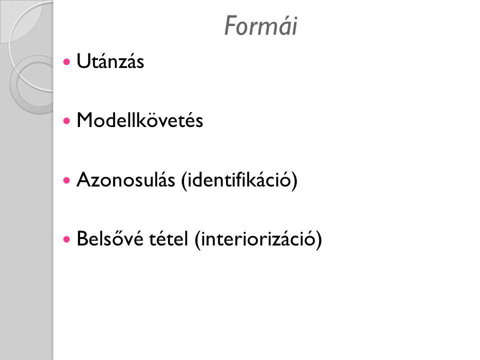 Formái Utánzás Modellkövetés Azonosulás (identifikáció) Belsővé tétel (interiorizáció)