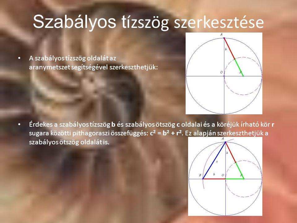 A szabályos tízszög oldalát az aranymetszet segítségével szerkeszthetjük: Érdekes a szabályos tízszög b és szabályos ötszög c oldalai és a köréjük írható kör r sugara közötti pithagoraszi összefüggés: c 2 = b 2 + r 2.