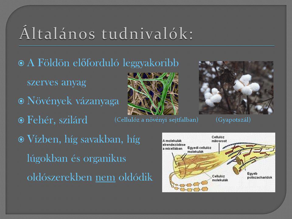  A Földön el ő forduló leggyakoribb szerves anyag  Növények vázanyaga  Fehér, szilárd  Vízben, híg savakban, híg lúgokban és organikus oldószerekb