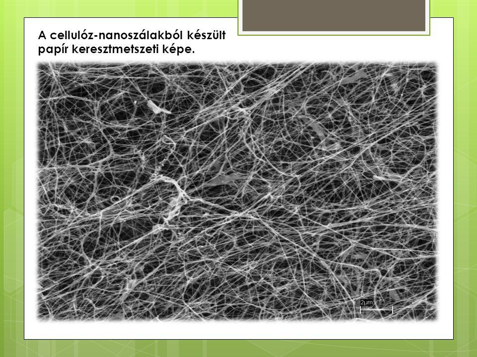 A cellulóz-nanoszálakból készült papír keresztmetszeti képe.