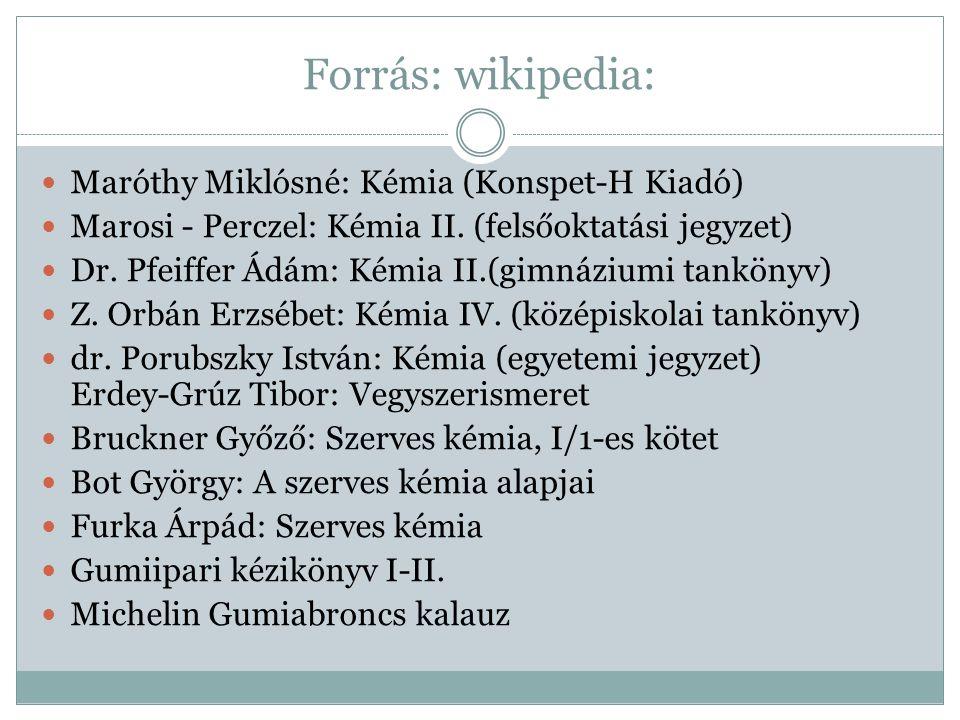 Forrás: wikipedia: Maróthy Miklósné: Kémia (Konspet-H Kiadó) Marosi - Perczel: Kémia II. (felsőoktatási jegyzet) Dr. Pfeiffer Ádám: Kémia II.(gimnáziu