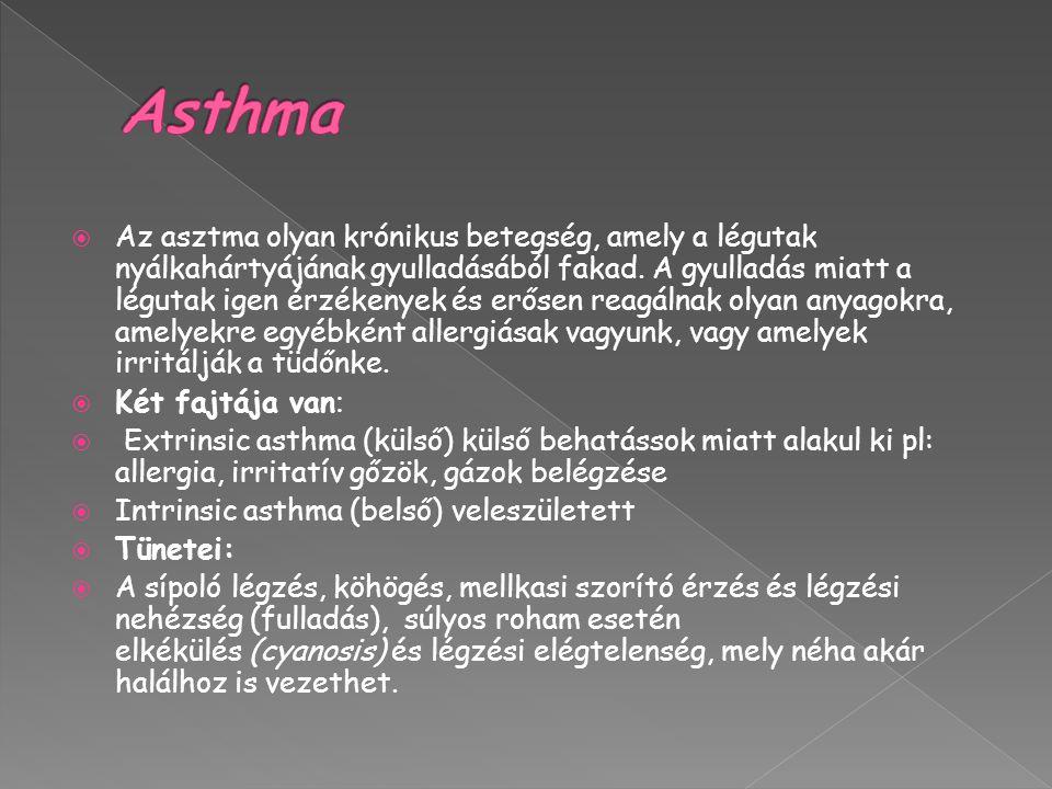  Az asztma olyan krónikus betegség, amely a légutak nyálkahártyájának gyulladásából fakad.