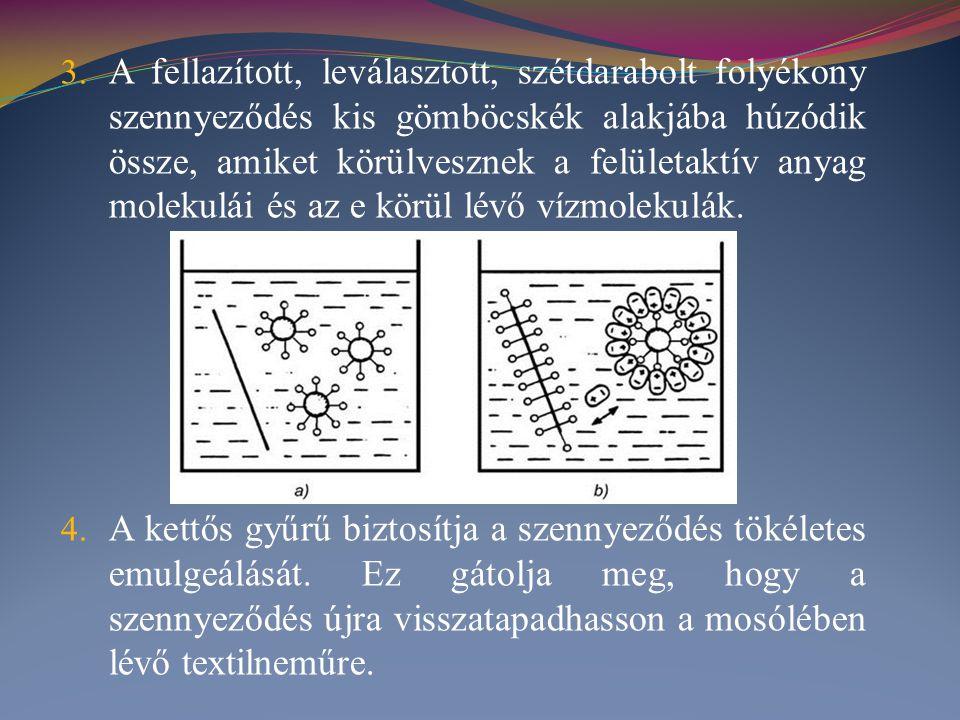 3. A fellazított, leválasztott, szétdarabolt folyékony szennyeződés kis gömböcskék alakjába húzódik össze, amiket körülvesznek a felületaktív anyag mo
