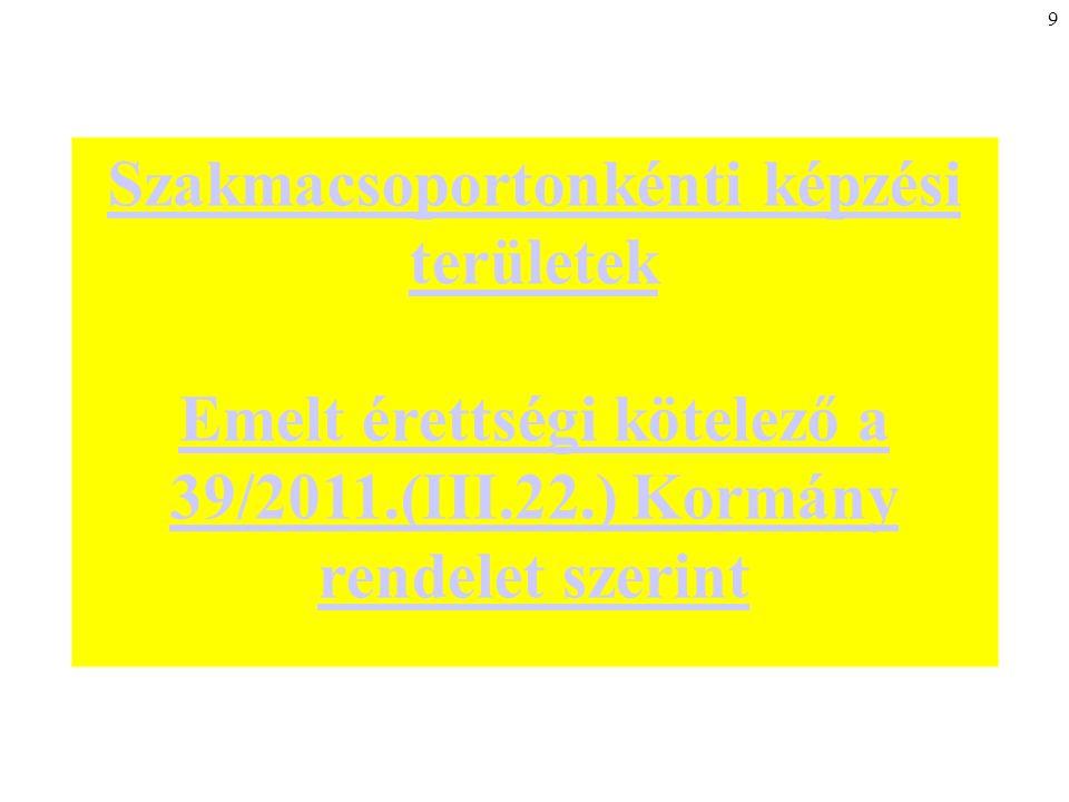 9 Szakmacsoportonkénti képzési területek Emelt érettségi kötelező a 39/2011.(III.22.) Kormány rendelet szerint