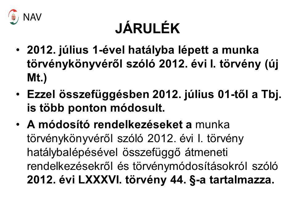 JÁRULÉK 2012. július 1-ével hatályba lépett a munka törvénykönyvéről szóló 2012. évi I. törvény (új Mt.) Ezzel összefüggésben 2012. július 01-től a Tb