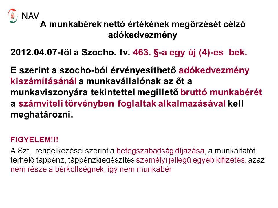 A munkabérek nettó értékének megőrzését célzó adókedvezmény 2012.04.07-től a Szocho. tv. 463. §-a egy új (4)-es bek. E szerint a szocho-ból érvényesít