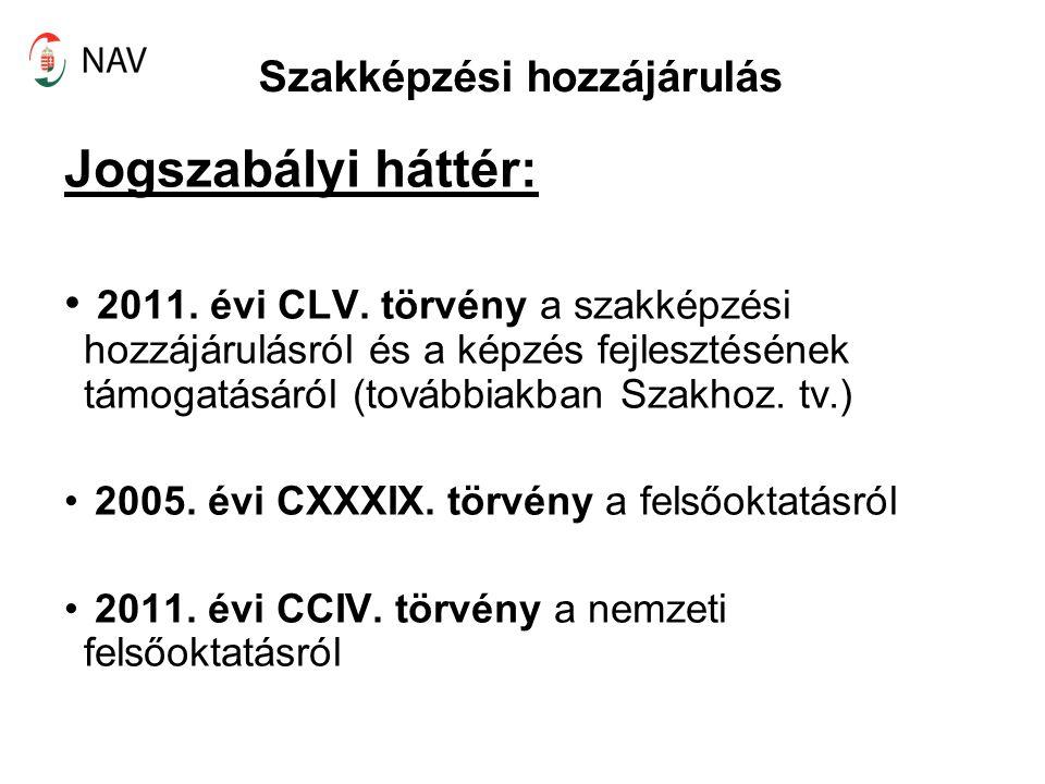 Szakképzési hozzájárulás Jogszabályi háttér: 2011. évi CLV. törvény a szakképzési hozzájárulásról és a képzés fejlesztésének támogatásáról (továbbiakb