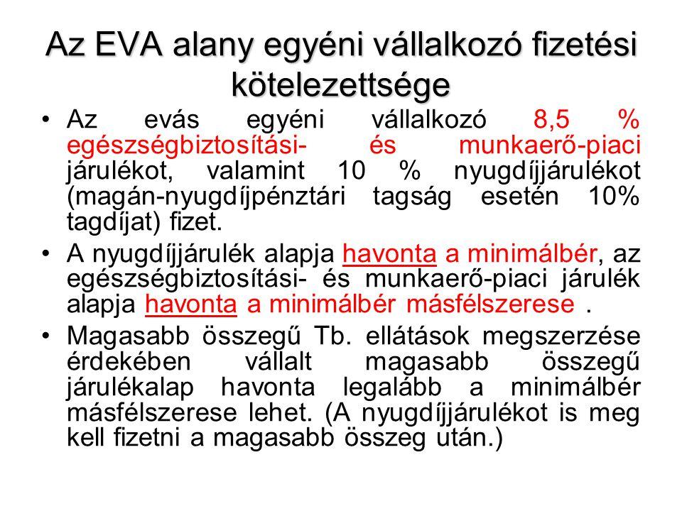 Az EVA alany egyéni vállalkozó fizetési kötelezettsége Az evás egyéni vállalkozó 8,5 % egészségbiztosítási- és munkaerő-piaci járulékot, valamint 10 %