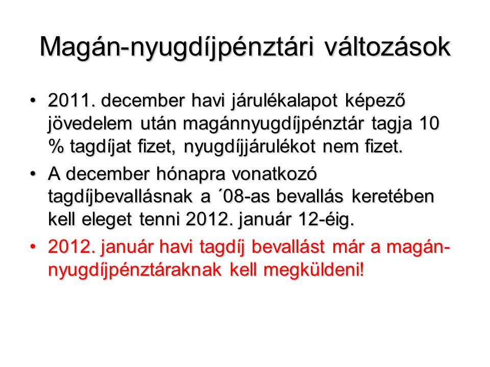 Magán-nyugdíjpénztári változások 2011. december havi járulékalapot képező jövedelem után magánnyugdíjpénztár tagja 10 % tagdíjat fizet, nyugdíjjárulék