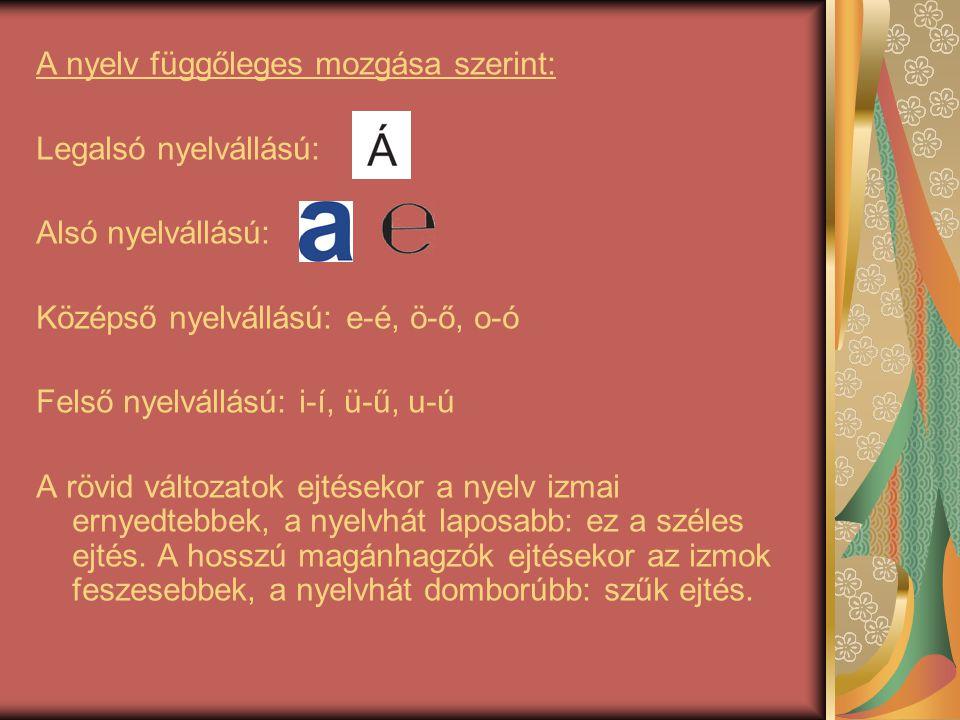 A nyelv függőleges mozgása szerint: Legalsó nyelvállású: Alsó nyelvállású: Középső nyelvállású: e-é, ö-ő, o-ó Felső nyelvállású: i-í, ü-ű, u-ú A rövid