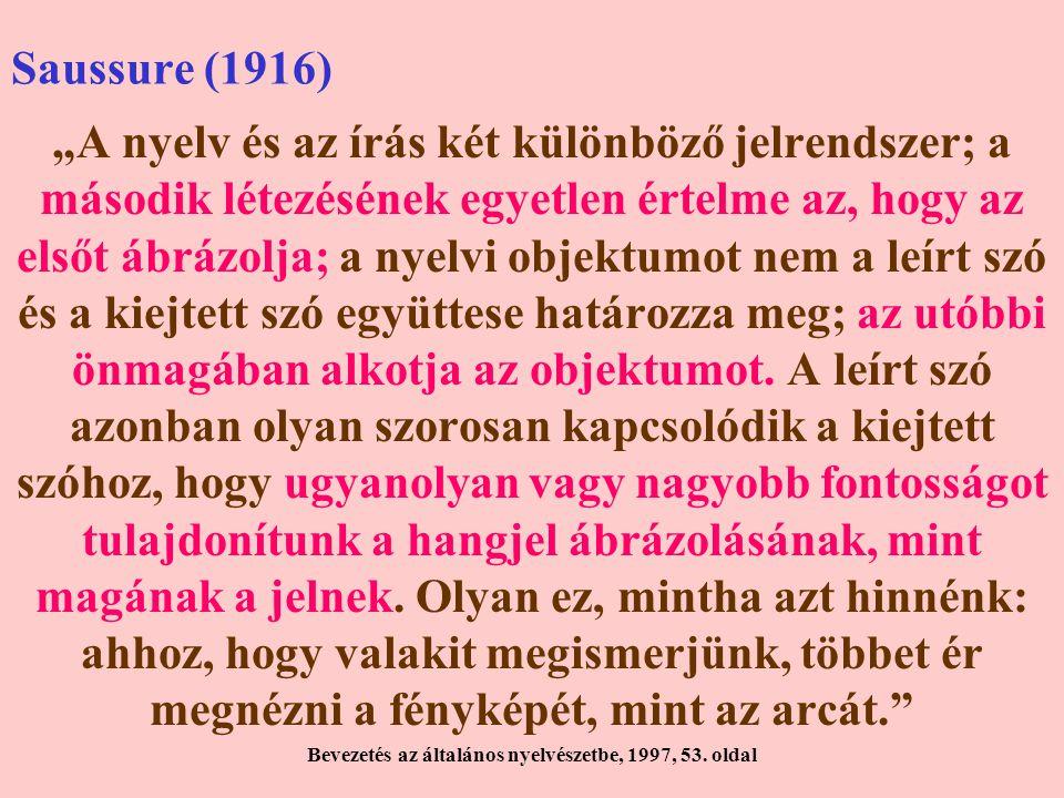 """Saussure (1916) """"A nyelv és az írás két különböző jelrendszer; a második létezésének egyetlen értelme az, hogy az elsőt ábrázolja; a nyelvi objektumot nem a leírt szó és a kiejtett szó együttese határozza meg; az utóbbi önmagában alkotja az objektumot."""