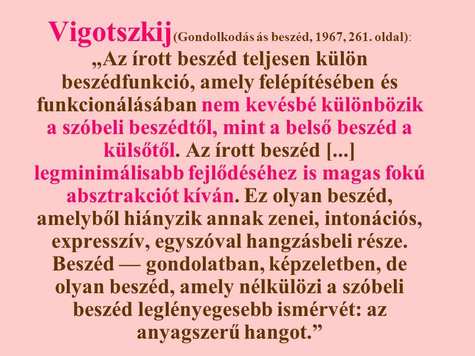 Vigotszkij (Gondolkodás ás beszéd, 1967, 261.