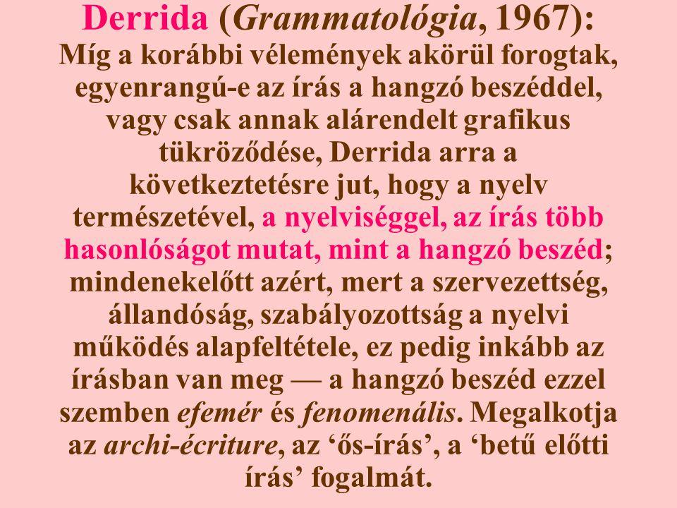 Derrida (Grammatológia, 1967): Míg a korábbi vélemények akörül forogtak, egyenrangú-e az írás a hangzó beszéddel, vagy csak annak alárendelt grafikus tükröződése, Derrida arra a következtetésre jut, hogy a nyelv természetével, a nyelviséggel, az írás több hasonlóságot mutat, mint a hangzó beszéd; mindenekelőtt azért, mert a szervezettség, állandóság, szabályozottság a nyelvi működés alapfeltétele, ez pedig inkább az írásban van meg — a hangzó beszéd ezzel szemben efemér és fenomenális.