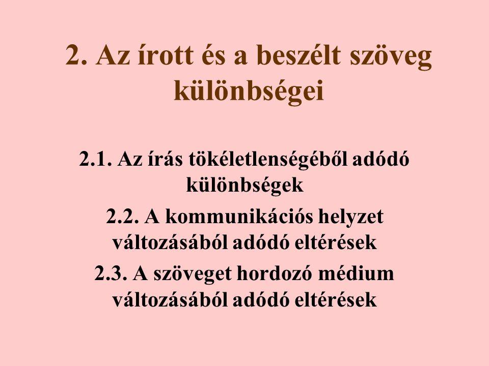 2.Az írott és a beszélt szöveg különbségei 2.1. Az írás tökéletlenségéből adódó különbségek 2.2.