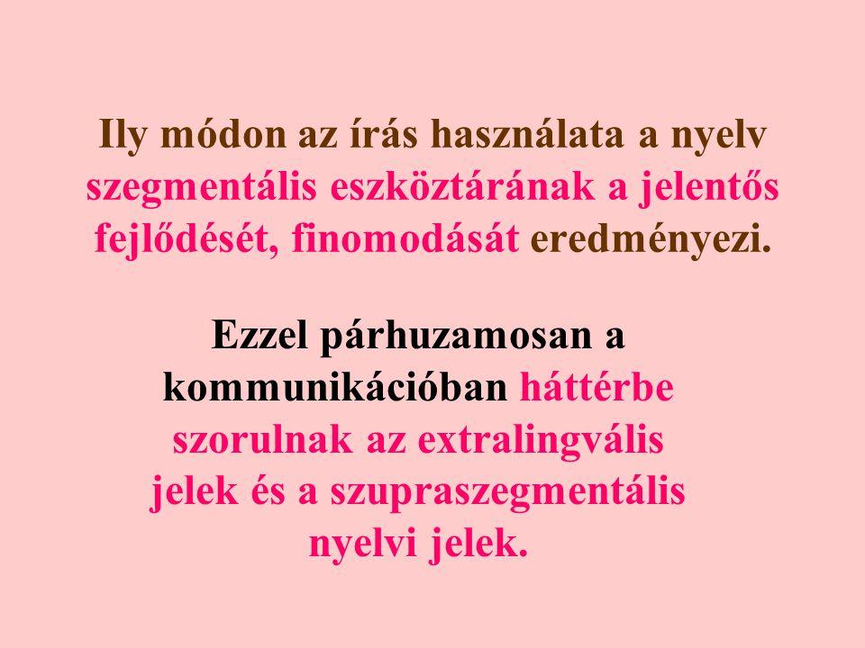 Ily módon az írás használata a nyelv szegmentális eszköztárának a jelentős fejlődését, finomodását eredményezi.