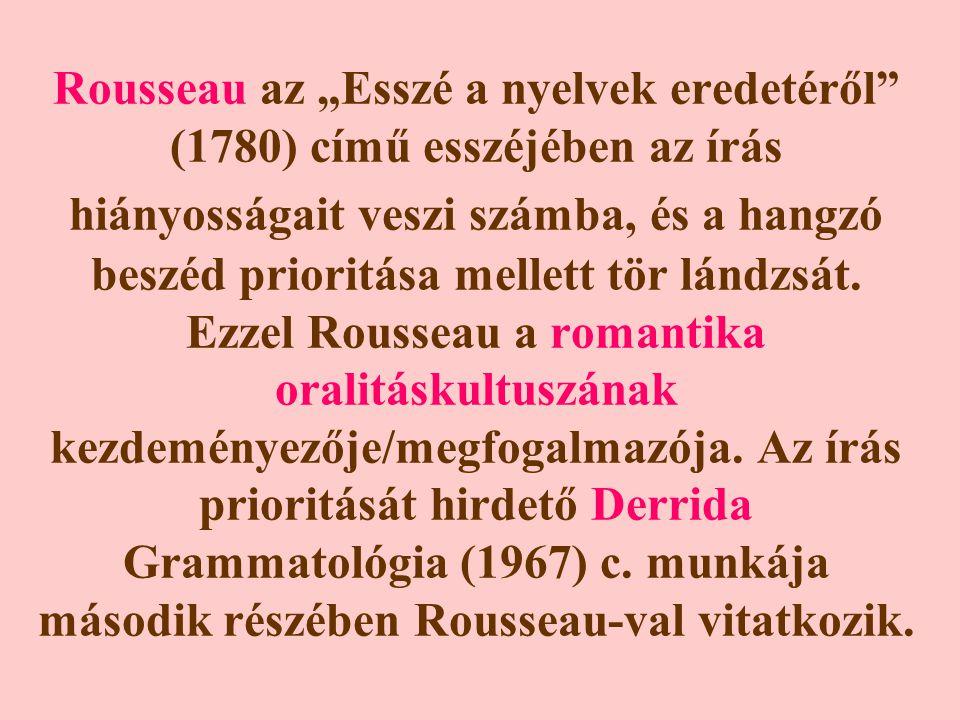 """Rousseau az """"Esszé a nyelvek eredetéről (1780) című esszéjében az írás hiányosságait veszi számba, és a hangzó beszéd prioritása mellett tör lándzsát."""